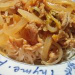 豚キムチ素麺(のせ麺)